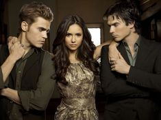 Paul Wesley as Stefan Salvatore, Nina Dobrev as Elena Gilbert and Ian Somerhalder as Damon Salvatore of 'The Vampire Diaries'. Vampire Diaries Stefan, Vampire Diaries The Originals, Vampire Diaries Besetzung, Vampire Diaries Wallpaper, Vampire Dairies, Stefan Vampire, Damon Et Elena, Damon E Stefan, Katherine Pierce