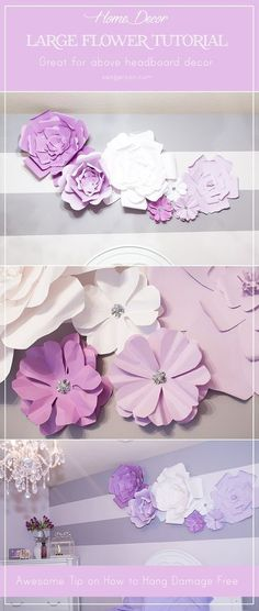 DIY Large Paper Flowers (Wall Decor and Above Bed)