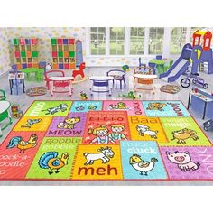 Zoomie Kids Haar Red/Green Indoor/Outdoor Area Rug Rug Size: Rectangle x Modern Color Palette, Modern Colors, Carpets For Kids, Kids Rugs, Infant Toddler Classroom, Kids Indoor Playground, Childrens Rugs, Indoor Outdoor Area Rugs