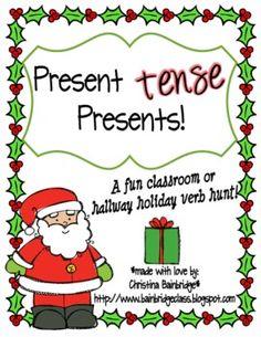 Present *tense* Presents... a Christmas Verb Classroom or Hallway Hunt...free!