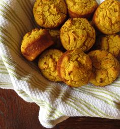 Gluten Free Dairy Free PUMPKIN CORN MUFFINS - a great savory bread that's so easy to make to serve along side your meal, or to use in place of cornbread in your favorite stuffing or pan dressing recipe! via GlutenFreeGigi.com
