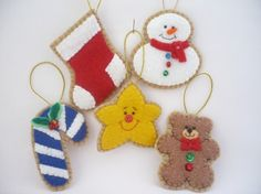 Felt Christmas Ornaments  Set of 5 by ynelcas on Etsy