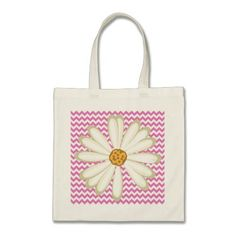 Our Daisy tote bags are great for carrying around your school & office work, or other shopping purchases. Cotton Canvas, Baby Gifts, New Baby Products, Chevron, Daisy, Reusable Tote Bags, Pattern, Pink, Blue
