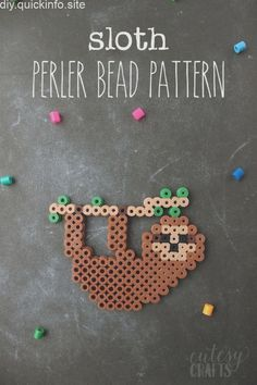 Sloth Perler Bead Design is part of Perler beads designs - Let the kids make an adorable sloth perler bead design Keep them entertained with this easy pattern for a square perler bead tray Perler Bead Designs, Easy Perler Bead Patterns, Melty Bead Patterns, Perler Bead Templates, Hama Beads Design, Diy Perler Beads, Perler Bead Art, Beading Patterns, Loom Patterns