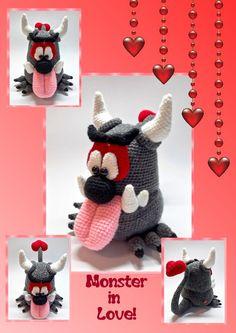 Häkelanleitungen - Häkelanleitung Monster in Love,  Amigurumi - ein Designerstück von Sanis-Fitzereien bei DaWanda