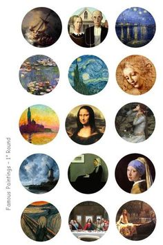 Famous Paintings Bottle Cap Images - 4 x 6 Digital Collage Sheet - 1 inch Round Circles PLEASE NOTE: This is a digital product, NO physical Bottle Cap Art, Bottle Cap Crafts, Bottle Cap Images, Journal Stickers, Planner Stickers, Vogel Silhouette, Glass Tile Pendant, Tumblr Stickers, Album Design