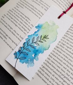 Creative Bookmarks, Cute Bookmarks, Paper Bookmarks, Bookmark Craft, Watercolor Bookmarks, Crochet Bookmarks, Watercolor Sketch, Watercolor Cards, Watercolor Illustration