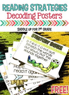 Reading Strategies Posters This is a set of reading decoding strategy posters to help young reader's decode unfamiliar words. They are ink friendly and would make a great display for your classroom or you can print them smaller to a page) and place on a Reading Strategies Posters, Reading Posters, Guided Reading Groups, Reading Activities, Decoding Strategies, Guided Reading Lessons, Reading Resources, Therapy Activities, Kindergarten Reading
