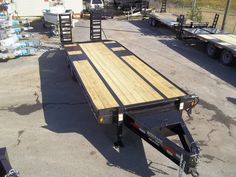 deckover 25 ft 10 ton equipment trailer, bumper pull LED lights 20 bed self cleaning dove tail tool box in tongue spring loaded ramps anderson trailers by best trailers Best Trailers, Equipment Trailers, Covered Wagon, Flat Bed, Dump Trucks, Heavy Equipment, Used Cars, Cars For Sale