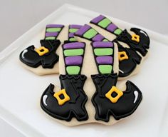 Witchy leg cookies; Sugarbelle (cupcake cookies decorated)