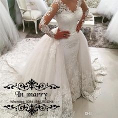 2017 Fall Plus Size Mermaid Overskirts Wedding Dresses Detachable Train Vintage Lace Long Sleeves Beaded Muslim Indian Spanish Bridal Gowns 2017 Wedding Dresses Plus Size Wedding Dresses Arabic Wedding Dresses Online with $312.5/Piece on In_marry's Store | DHgate.com