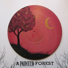 Unique Acrylic Painting on Upcycled Vinyl Record - Purple/Gold Tree and Moon on Orange Star Scattered Sky on Etsy, $40.00