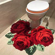 USTIDE Shaggy Bathroom Rug Toilet Mat Red Rose Plush Water Absorbent Accent Rug for Bathroom Vanity, Christmas Carpet Decor Bathtub/Shower, Machine by Bathroom Red, Bathroom Rug Sets, Red Bathroom Accessories, Carpet Decor, Carpet Mat, Toilet Mat, Mixer Shower, Bathtub Shower, Cheap Carpet