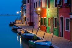 #Blue #Hour along #canal with #colorful #houses, #Burano, #Italy.