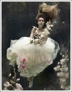 Floating woman in water