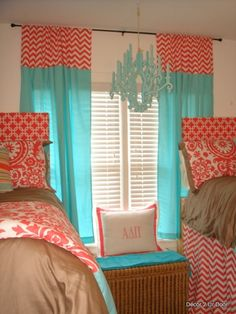 Bright and cheerful #dorm room #decor: Tiffany Blue and Coral Beautiful Bedding, twin beds and an eye-catching chandelier