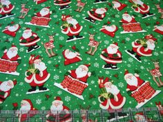 3 Yards Quilt Cotton Fabric - Henry Glass Believe Santa Claus Christmas Toss Grn #HenryGlassCo