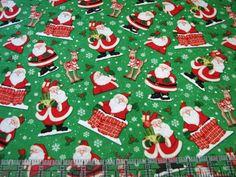 3 Yards Quilt Cotton Fabric - Henry Glass Believe Santa Claus Christmas Toss Grn #HenryGlassCo