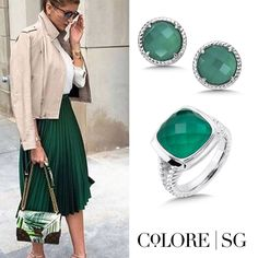 Style inspiration: Add Colore green agate fusion jewelry for a style that POPS! #OOTD