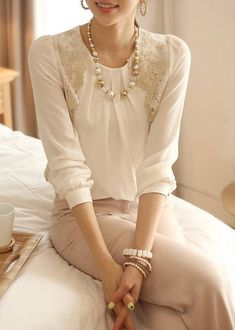 Stylish Round Neck Long Sleeve Lace Embroidered Chiffon Blouse For Women