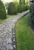 Picture of Stone Paver Path on a lush green grass lawn stock photo, images and stock photography. Paver Path, Flagstone Walkway, Lush Green, Green Grass, Front Porch Railings, Paths, Royalty Free Stock Photos, Sidewalk, Nice
