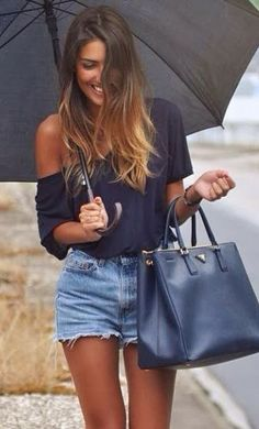 Summer Idea - Off the Shoulder top and denim shorts #womenswear #denimshort #summer #outfit