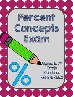 This assessment has 20 varied questions and is aligned to 7th grade Common Core standards 7.RP.3 and 7.EE.2. Students will show what they know about writing proportions using percents, interest, tax, tips, and solving percent equations. In addition to an assessment, this product can also be used as a pre-assessment in upper grades, a homework sheet, or a review sheet.