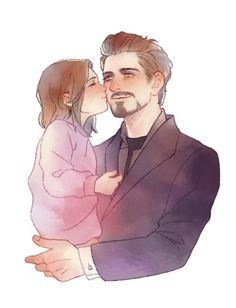 You talented people are making me cry with your beautiful fanarts CREDITS: Deer_White / / / / julgi Marvel Funny, Marvel Avengers, Marvel Comics, Father Daughter Photos, Stark Family, Familia Anime, Anime Family, Tony Stark, Marvel Universe