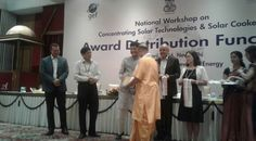 """Concentrating Solar Technologies and Solar Cookers Award 2016 to Shantikunj Among the religious institutions, Shantikunj was awarded in the field of Energy Savings on 29 th April at Ashoka Hotel, New Delhi, in a day-long workshop held on """"Concentrating Solar Technologies and Solar Cookers"""". The program was organized by the Ministry of Energy and coal. In the workshop, Shantikunj was prominently chosen to effectively use the system of CST.  Hon'ble Minister, Shri Piyush Goyal"""