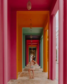 This colorful rainbow corridor, which is a perfect Instaram opportunity, is located just outside the Fendi store. Miami Pictures, Miami Photos, South Beach Miami, South Florida, Marco Island Florida, Miami Restaurants, Miami Orlando, Key West Vacations, Art Deco Buildings