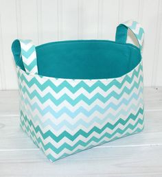 Basket, Organizer, Storage Bin, Nursery Decor, Home Decor, Container, Diaper Storage  - Teal and Aqua Blue Ombre Chevron - Ready to Ship