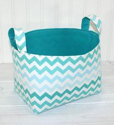 Basket, Organizer, Storage Bin, Nursery Decor, Home Decor, Container, Diaper Storage  - Teal and Aqua Blue Ombre Chevron - Ready to Ship
