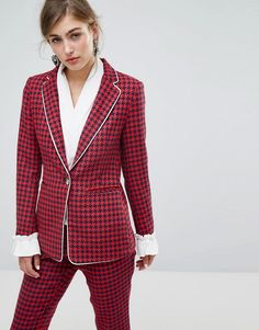 #ASOS - #sister jane Sister Jane Houndstooth Blazer With Frill - Red - AdoreWe.com