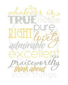 "Whatever is True Philippians 4:8 Scripture Print - navy, gray and tan 8x10 bible verse wall art decor (no.12 ""nautical"") - bedroom"