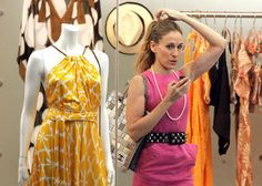 Gorgeous Carrie Bradshaw in her trendy summer outfit that perfectly fits for the office