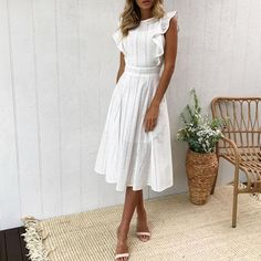 Elegant Ruffle White Lace Hollow Out Dress Women Party Dresses - - Elegant Ruffle White Lace Hollow Out Dress Women Party Dresses – Outfitter Style Source by outfitterstyle Sun Dresses Modest, Modest White Dress, Lace Summer Dresses, White Dress Summer, Modest Outfits, Day Dresses, Casual Dresses, Fashion Dresses, White Spring Dresses