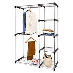 Double Rod Closet Organizer Freestanding Wardrobe Rack   Silver