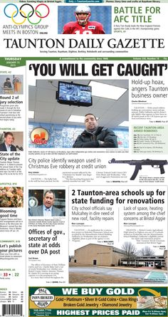 The front page of the Taunton Daily Gazette for Thursday, Jan. 15, 2015.