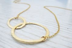 Gold circle necklace Eternity gold necklace14k by HLcollection