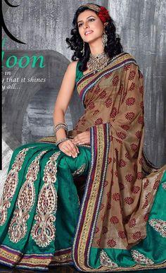 US$ 63.54 Emerald Green Art Silk #Saree #Blouse Lehenga Style Saree, Saree Blouse, Sari, Art Silk Sarees, Green Art, Beautiful Saree, Emerald Green, Women Wear, How To Wear