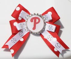 Phillies Hair Bow Phillies Bow Bow for Phillies Red by bowsforme, $6.00
