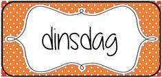 Woordkaarten om de dagen van de week en/of de agenda aan bord te visualiseren. © Sarah Verhoeven School Posters, Speech And Language, Classroom, Teacher, Education, Calendar, Class Room, Language