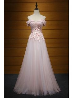 Blush A-line Off-the-shoulder Floor-length Tulle Prom Dress With Appliques Lace