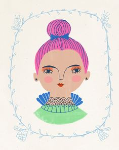 A girl with a magenta topknot by Sarah Walsh