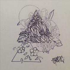 Pyramid triangle sketch girl design beautiful floral cherry blossom lotus chrysanthemum geometric flower tattoo draft drawing stippling dottism cute girly dots dotwork follow on Instagram Crazetats