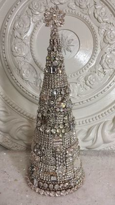 sparkling Christmas tree made with vintage rhinestone jewelry
