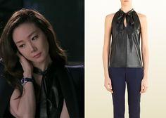 "Choi Ji-Woo 최지우 in ""Temptation"" Episode 1. Gucci Black Leather Halter Top #Kdrama #Temptation #유혹 #ChoiJiWoo"