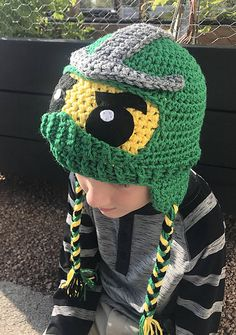 New and Improved Ninjago Hat Pattern! Now you can make your own Ninjago Hat made from my very own pattern. Variations for helmet style, and can be made with or without earflaps.