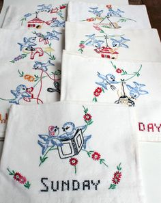 Embroidered dish towels that My Mother-n-law made me...:)