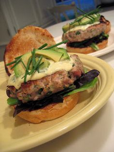 Tuna burgers with wasabi aoli! Oh my my my... I cannot wait for this!